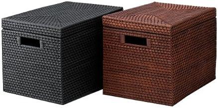 【COTAN】ラタン-籐-収納籠(かご) / ふた付き/黒