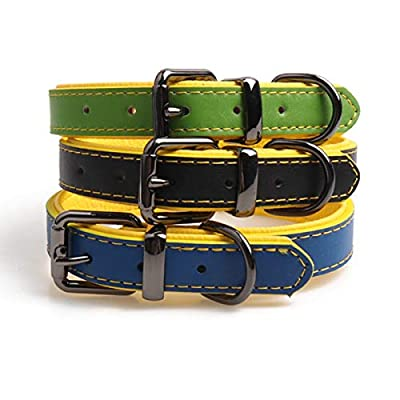 "Mycicy Black Genuine Leather Dog Collar, Handmade Durable Full Grain Medium Dog Collar with Yellow Leather Padded (Neck Girth: 14-17"" x1.0 Wide)"