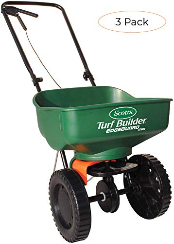 Scotts Turf Builder EdgeGuard Mini Broadcast Spreader - Spreads Grass Seed, Fertilizer and Ice Melt - Holds up to 5,000 sq. ft. of Scotts Grass Seed or Fertilizer Products (Pack 3)