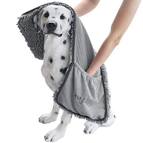 Furfox Absorbent Dog Towel, Microfiber Quick Drying Towel Machine Washable with Hand Pockets Pet Towel for Medium Large Dog 35 x 15''