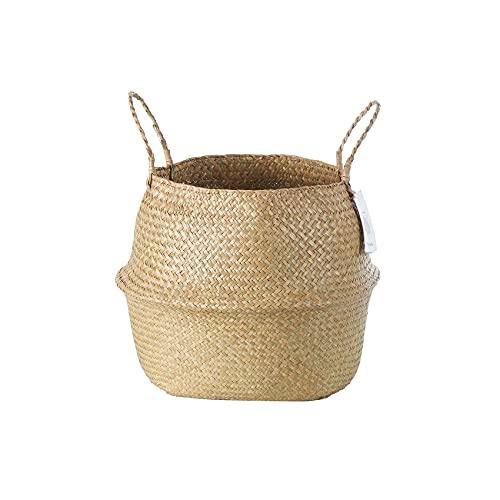 Cesta de vientre tejida York Duck Seagrass con asas para almacenamiento, lavandería, picnic, jardineras tejidas (XL-Color Natural)