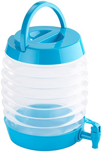 PEARL Getränkespender: Faltbares Fässchen, Auslaufhahn, Ständer, 5,5 Liter, blau/transparent (Faltbarer Getränkespender)