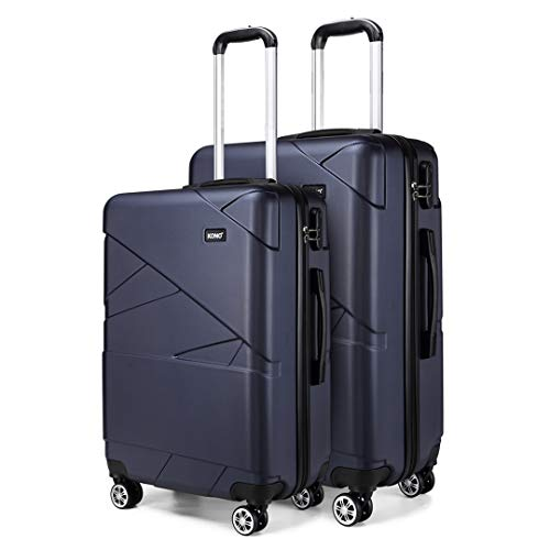 Kono 2 Piece Travel Hard Shell Suitcase Set 24''+28'' Large Capacity Hold Check in Luggage with 4 Spinner Wheel (Navy)