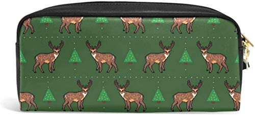 Christmas Cute Reindeer Pencil Case Pen Bag Stationery Pouch Makeup Holder Cosmetic Box Makeup Organizers