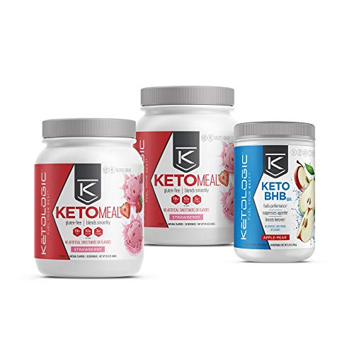 KetoLogic Keto 30 Challenge Bundle: Tim Tebow Approved | 30-Day Supply Keto Meal Replacement Shakes with MCT & BHB Exogenous Ketones Powder | Kickstarts Your Ketogenic Diet | Strawberry & Apple Pear 1