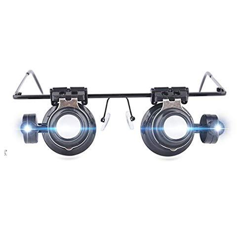 Brillen-Typ Lupe Fernglas mit Licht Reparatur Uhr 20 Mal Lupe zum Lesen Schmuck Uhren und elektronische Reparatur