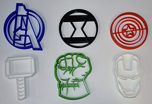 AVENGERS SUPERHEROS MARVEL COMICS MOVIE CHARACTERS LOGO HULK IRON MAN THOR CAPTAIN AMERICA BLACK WIDOW SET OF 6 SPECIAL OCCASION COOKIE CUTTERS BAKING TOOL 3D PRINTED MADE IN USA PR1051