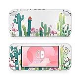 46 North Design Switch Lite Skin Vinyl Stickers, Cactus Garden Flamingo Acuarela Vegetación Pastel Floral Desierto Trópico Dibujos, Alta calidad, Durable, Sin burbujas, Made in Canada
