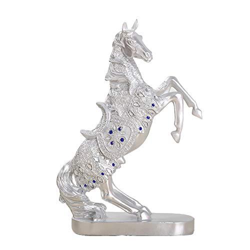 MLXG Cavallo Creativo Home Decorazione,Resina Cavallo Decor Scultura Creativo Home Statue per La Ricchezza Buona Fortuna Ornamenti di Arte Artigianato in Camera-Argento A