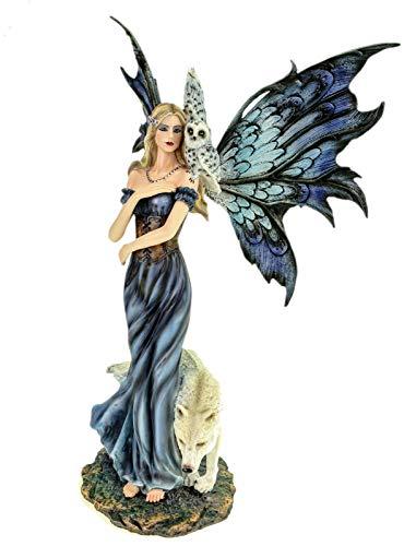 Vogler Wolfskönigin Lupina mit Wolf und Eule 40 cm Figur Fee Fantasy Fairy Elfe