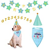 POPETPOP Hundegeburtstags-Partyversorgungen - kreativer Hundegeburtstag Bandana und Hut Alles Gute zum Geburtstagfahne für Hundekatzen-Geburtstagsfeier