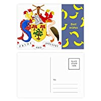 ブリッジタウンバルバドスの国章 バナナのポストカードセットサンクスカード郵送側20個