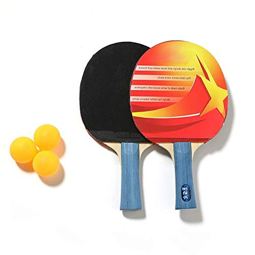 Lowest Prices! Bocotous Ping Pong Paddle Set, 2 Table Tennis Bats and 3 Balls, Suitable for Kids Beg...