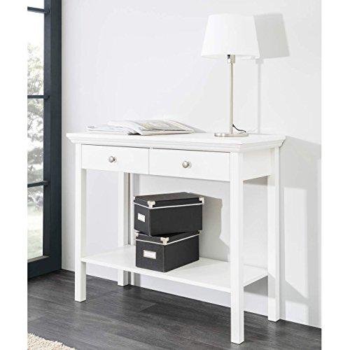 moebel-dich-auf Stockholm Landhaus Konsolentisch Anrichte Beistelltisch Tisch Sekretär Ablage Kommode 90x75x35cm in weiß