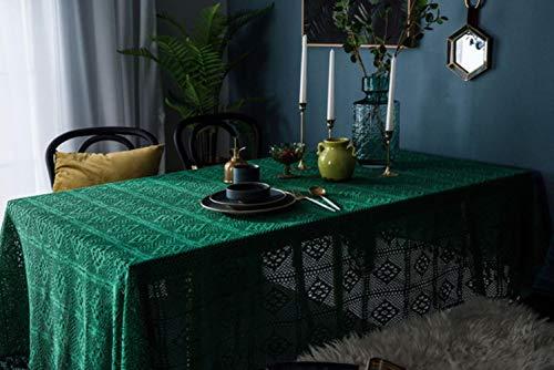 ZDD TV gabinete Cubierta de Polvo decoración Mantel de Ganchillo Hecho a Mano Mantel de Encaje Hueco Verde de Punto Retro, Verde, 180x180cm