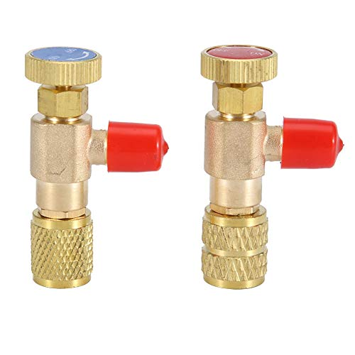Mumusuki 2pcs Válvula de Seguridad líquida R410A R22 Refrigerante de Aire Acondicionado Adaptador de Seguridad de 1/4
