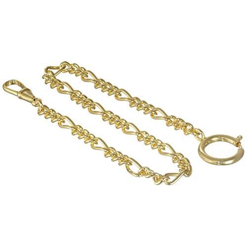 MTS catena per orologio da taschino, chiusura tonda, 5 mm/30 cm, placcata oro, di alta qualità