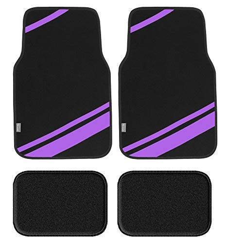 FH Group F14501PURPLE Universal Fit Carpet Floor Mats Full Set (with Faux Leather for Cars, Coupes, Small SUVs)