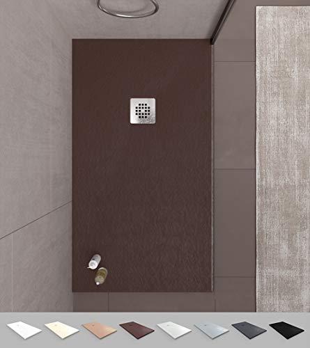 VAROBATH -Plato de ducha de Resina - Mod. ONE - Color Marrón - Extraplano - Antideslizantes C3 y anti-bacterianos - Incluye válvula .Fabricado en España. (70x100)