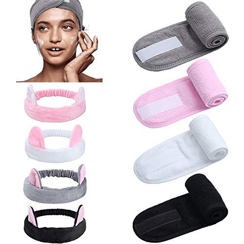 8pack spa gezichtshoofdband met magische tape schattige kat oor hoofdband hoofdomslag voor bad, make-up en sport (grijs/wit/roze/zwart)