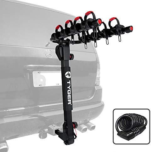 Tyger Auto TG-RK4B102B Deluxe 4-Bike Carrier Rack Compatible with Both 1-1/4'' and 2'' Hitch Receiver | with Hitch Pin Lock & Cable Lock | Soft Cushion Protector