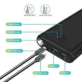 Batterie Externe 【2020 Dernier Modèle】26800mAh Haute Capacité Power Bank Chargeur Portable avec 2 USB Ports,et Une Lampe de Poche LED de Secours Compatible pour Smartphones/Tablettes PC/USB Devices