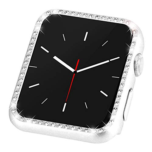 Coobes Compatible with Apple Watch Case 40mm 44mm, Metal Bumper Protective Cover Women Bling Diamond Crystal Rhinestone Shiny Compatible iWatch Series 5/4 (Diamond-Silver, 40mm)
