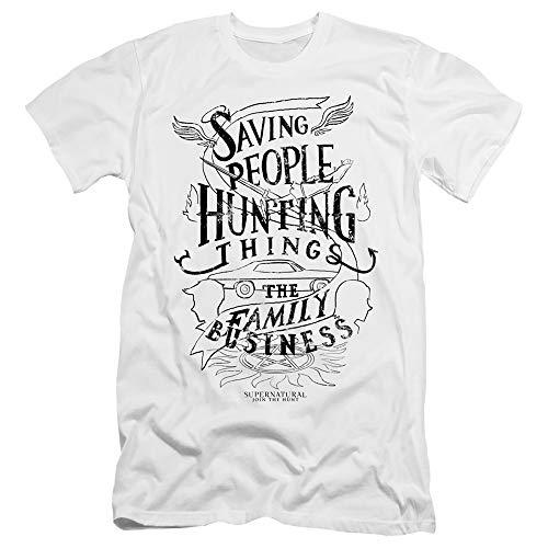 womens hunting shirts Supernatural Canvas T-Shirt Saving People Hunting Things White