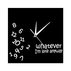 The Geeky Days Whatever I'm Late Anyway Square Wall Clock Scrambled Numbers Funny Modern Silent Non-Ticking Wall Clock Hanging Wall Decor Watch