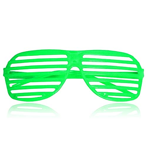Neon Green Shutter Shades. Ideal for 80s Party. Other Colours Available
