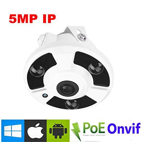 NightKing Onvif IP-Sicherheitskamera, 5 MP, 360 Grad Fischaugen-Panorama, PoE IP-Sicherheitskamera, 5 MP @ 20 fps, H.265/H.264,90 m Nachtsicht, kostenlose App-Ansicht