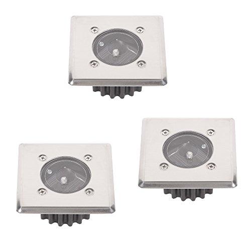 LED-Solar Bodeneinbauleuchte 3er Set | Solarleuchten eckig 8,5x8,5cm trittfest Edelstahlfront | 3x Einbauleuchten Solarlampen | Boden Einbaustrahler IP44