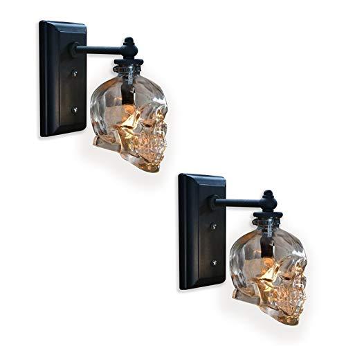 VOMI Innen LED Wandleuchte E14 Vintage Totenkopf Wandlampe, Transparent Glas Schatten Schwarz Base Schädel Wandlampen für Bar, Halloween, Party Retro Loft Dekorative Beleuchtung lampe, 2 Stück
