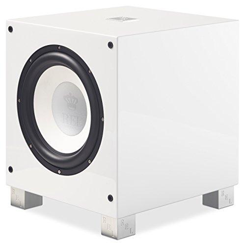 REL Acoustics T/9i Subwoofer, 25,4 cm (10 Zoll) Frontbrenner, kabelloser Pfeilanschluss, Hochglanzweiß