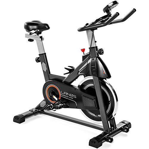 Stationary Bike for Indoor Riding with LCD Monitor, Carbon Steel, 270lbs Weight Capacity - Exercise Bikes with Tablet Mount, 35lb Flywheel, Comfortable Seat Cushion - Premium Cycling Bike (Black)
