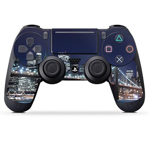 DeinDesign Skin kompatibel mit Sony Playstation 4 PS4 Slim Controller Folie Sticker USA New York Brooklyn Bridge