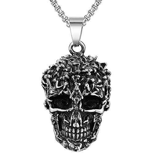 EzzySo Gótico Viking Monster Skull Titanium Acero Colgante Colgante, Retro Punk Hip Hop, Motociclista, Ciclista, Halloween, Fiesta, Regalos para Hombres y Mujeres (incluida la Cadena),Plata