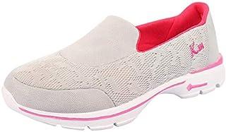 KazarMax Women's Grey & Pink Slipon's Walking Sneakers (Made in India)