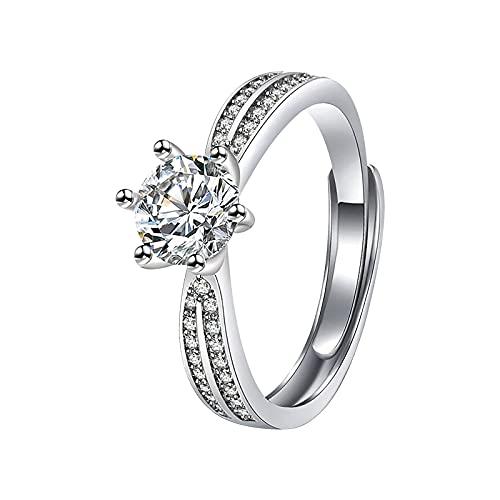 minjiSF Anillo fino de diamante para mujer con piedras de estrás, de plata, anillo de compromiso, alianzas, anillo de boda, anillo ajustable, joya única (sliber)