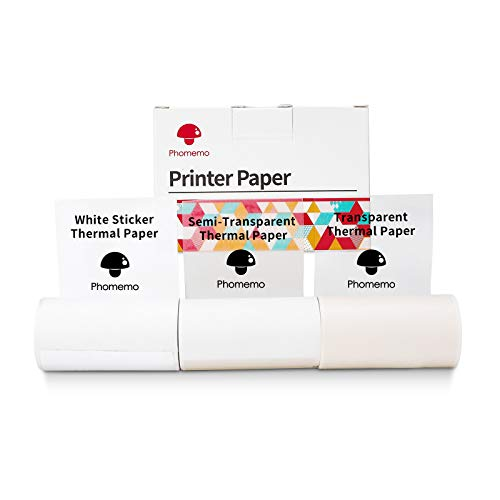 M02/M02Pro/M02S/M03 Printer Paper-Kompatibel mit Phomemo Papier, Weißes/Halbtransparentes/Transparentes Gemischtes Set, Bedruckbares Aufkleberpapier, Selbstklebendes Direktetikettenpapier,3-Rollen