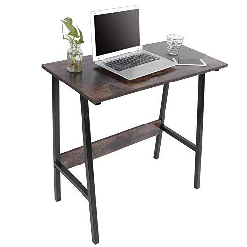 AYNEFY Escritorio para ordenador, escritorio de oficina, con tablero grueso y marco de metal estable, mesa de 40 cm, color marrón