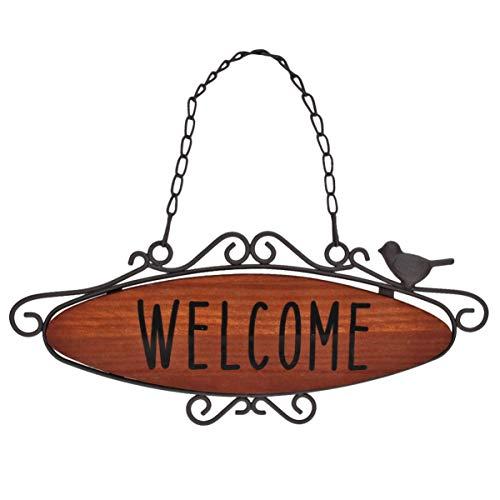 Vosarea Cartel de Puerta de Welcome Placa de Bienvenida de Madera Letreros de Puerta Deocración para Hogar Negocio Cafetería