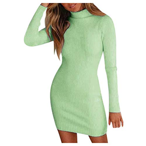 Winter Damen Pullover Sweater Strickkleid Warm Elegant Langarm Strickpullover Lang Frauen Rollkragen Stretch PullikleidElegant Minikleid Einfarbig Schlank Pulloverkleid Kurz Winterkleider