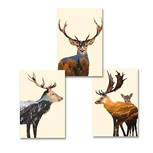 MYSY Europa Cervi Animali Montagna Paesaggio Dipinti su Tela Poster e Stampa Quadri d'Arte per Soggiorno complementi arredo casa-50cmx70cm 3 Pezzi Senza Cornice