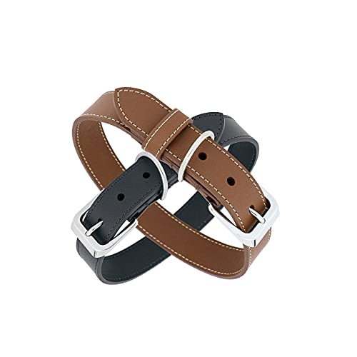 Collar para perro de piel lavable ajustable collares para perros Eco Sostenible resistente e impermeable con placa personalizable impermeable color gris XL