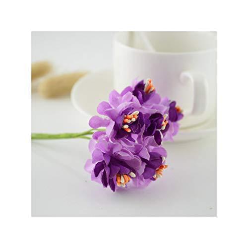 KenFandy 6Pcs Silk Stamen Fake Artificial Flowers For Wedding Decoration Handicraft DIY Bride Bouquet Decorative Gift Scrapbooking Wreath,Purple