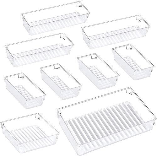 GEEKEN Schreibtisch Schubladen Organizer Tabletts, 4-GrrrE Schubladen TrennwwNde Vielseitige Aufbewahrung Boxen Schminken Tisch Makeup Organizer für BüRo
