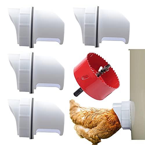 DIY Chicken Feeder Rain Proof Poultry Feeder Port Gravity Feed Kit for Buckets, Barrels, Bins, Troughs