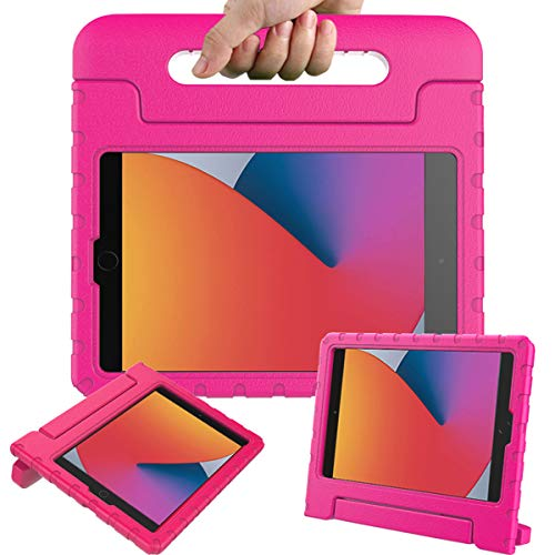 Surom Case for New iPad 10.2 Inch 2020/2019 (8th/7th Generation), Shockproof Lightweight Kids Friendly Convertible Handle Stand Protective Case for 2020/2019 iPad 10.2, iPad Air 3 10.5 2019, Rose Pink