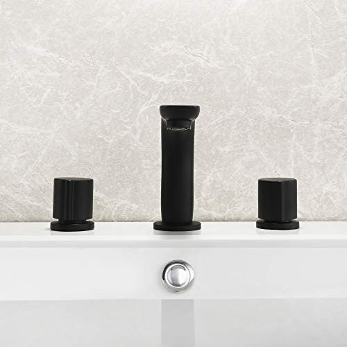 Dr Faucet Deck Mount Bathtub Faucet Vessel Sink Faucet Widespread Dual Handle Three Holes Bathroom 8 Inch Spread Faucet, Matte Black Dr-7041